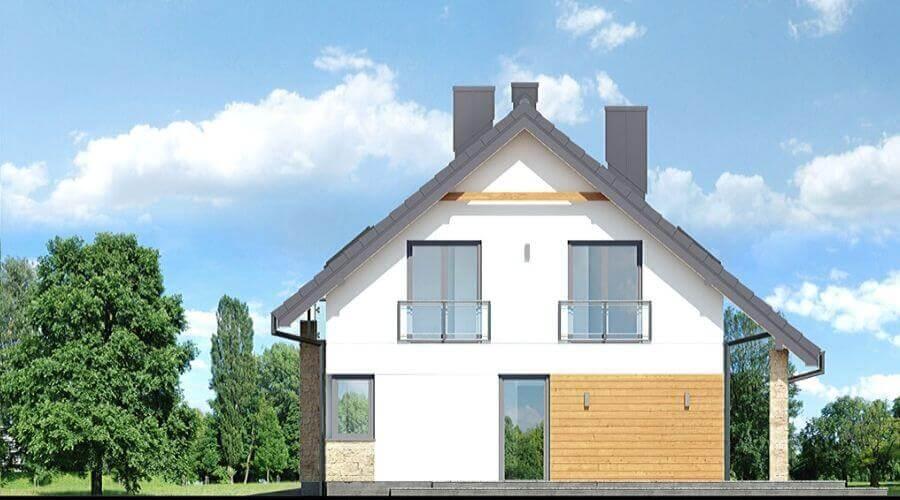 dom z trzema okanami i kominem. Dom w stanie surowym pod Legnicą